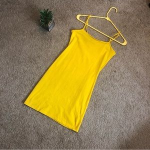 Yellow bodycon dress casual